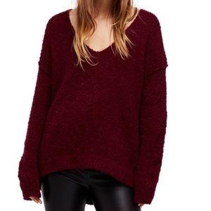 Free People Lofty V-neck Sweater in Wine